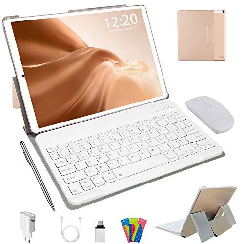 Tablette Tactile 10 Pouces 4G LTE, Android 10.0 64Go, 4Go de RAM Tablette PC 1,6 GHz | Double Caméra 5+8MP | WiFi | Bluetooth | GPS | Type-c | MicroSD 4-128 Go, avec Clavier et Souris (d'or)