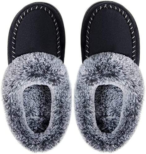 ULTRAIDEAS Women s Cozy Memory Foam Moccasin Suede Slippers with Fuzzy Plush Faux Fur Lining product image