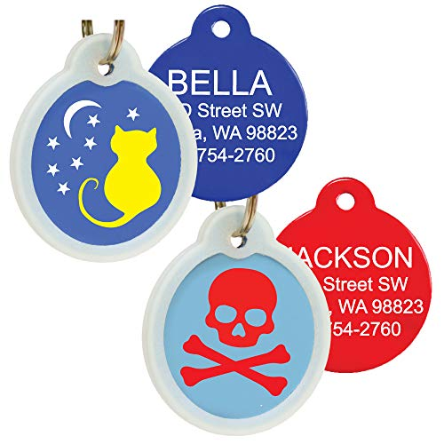 GoTags Unique Pet Tags, Personalized with 4 Lines of Custom Engraved ID, Silent Dog Tags with Glow in The Dark Silencer to Quiet Tag, Several Cute Tag Designs for Cat or Dog, (Starry Moon Cat)