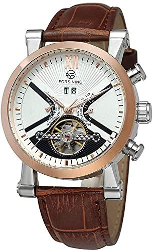 ZFAYFMA Reloj automático de hombre multifuncional correa de cuero de moda negocio mecánico automático impermeable Steampunk movimiento de acero inoxidable, marrón