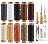 ilauke Leather Sewing Kit - 31 Pcs Leather Working Tools Upholstery Repair Kit with Waxed Thread, Leather Stitching Kit for DIY/Beginner Leather Sewing/Shoe Repair Kit