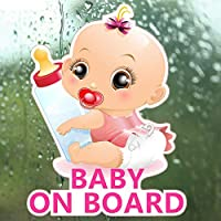 車用ステッカー ボード車のステッカーリトルプリンセス赤ちゃんの哺乳瓶の車の反射ステッカーの赤ん坊 (Color : 3)