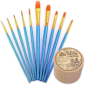 General Pencil Masters Brush Cleaner & Preserver and Pixiss Acrylic Paint Brush 10 Piece Set Nylon Hair Brushes for All Purpose Oil Watercolor Painting Artist Professional Kits