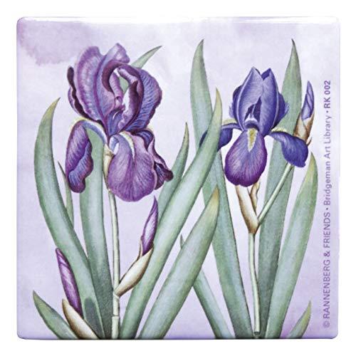 Rannenberg & Friends Untersetzer Kachel Porzellan 10,8 x 10,8 cm Iris aus dem Garten von Eichstätt goes Pop Unterseite mit Kork