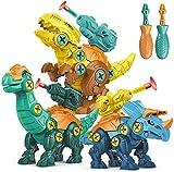 STAY GENT Dinosaurio Juguetes para Niños con Misil Fuego 3 Packs DIY Dinosaurio con Taladro Educativo Juguetes con Juego Construccion Puzzle STEM Regalo para Chicos y Chicas Niños Envejecido 3 4 5 6 7