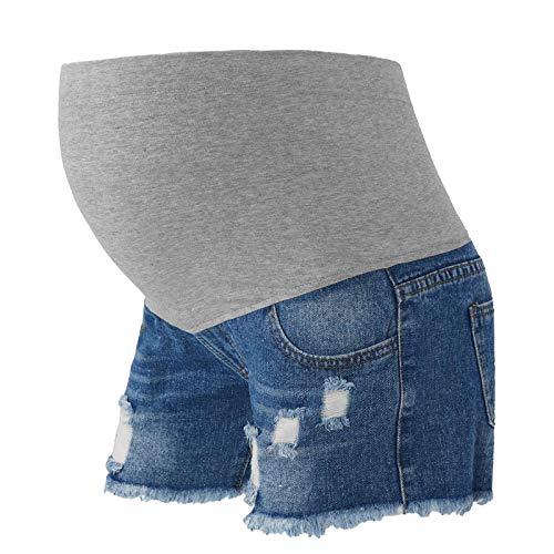 MSemis Pantaloncini di Jeans in maternità Pantaloncini Premaman Donna Leggings Regolabile Gravidanza Pantaloncini Denim Shorts Aderente Estivi Pantaloncini da Salotto Blu L