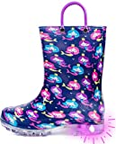 OUTEE Kids Rain Boots Toddler Girls Light Up Printed Waterproof Shoes Lightweight Adorable Cute Mermaid Pink Blue Rubber with Easy-On Handles and Insole (Size 2,Purple)