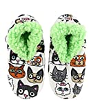 Lazy One Fuzzy Feet Slippers for Women, Cute Fleece-Lined House Slippers, Cats, Additude, Non-Skid