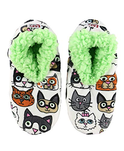 Lazy One Fuzzy Feet Slippers for Women, Cats, Additude, Non-Skid