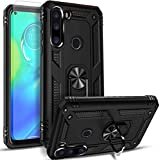 Suordii Case for Samsung Galaxy A21 with Tempered Glass Screen Protactor,Heavy Duty Military Grade Protective Case with 360 Degree Ring Kickstand for Magnetic Car Mount for Galaxy A21 (Black)