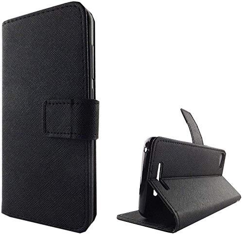 König Design Handyhülle Kompatibel mit Wiko Jerry Handytasche Schutzhülle Tasche Flip Hülle mit Kreditkartenfächern - Onyx Schwarz