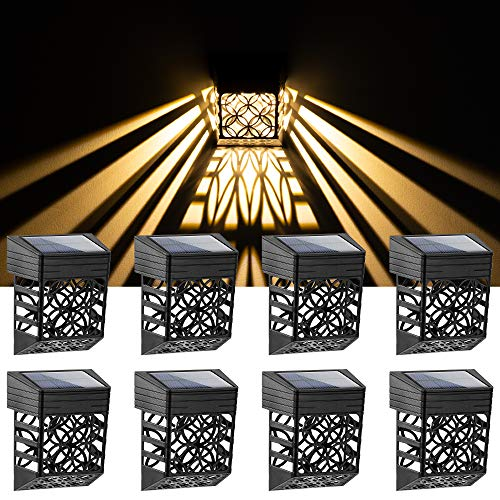 Solpex Solar Fence Lights, 8 Pack Solar Deck Step Lights Outdoor, Unique Pattern LED Solar Deck Lights, Waterproof Automatic Decorative Outdoor Solar Wall Lights for Deck, Patio, Stairs and Yard