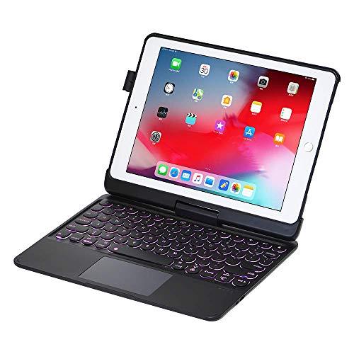 Zoof Case iPad Keyboard Case 9.7 for iPad 2018 (6th Gen) - iPad 2017 (5th Gen) - iPad Pro 9.7 - iPad Air 2 & 1-360 Rotatable Blacklit 7 Magic Colors - with Touchpad - Thin & Lightweight (Black)