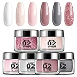 Dip Powder Nail Colors Set with 6 Nude Colors Dipping Powder Nails System for French Nail ...