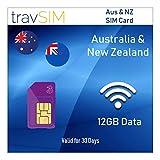 Tarjeta SIM Prepagada Australia & Nueva Zelanda - 12 GB Datos Móviles Rápidos + 3000 Mins & 3000 Textos - 30 Días Standard Micro Nano