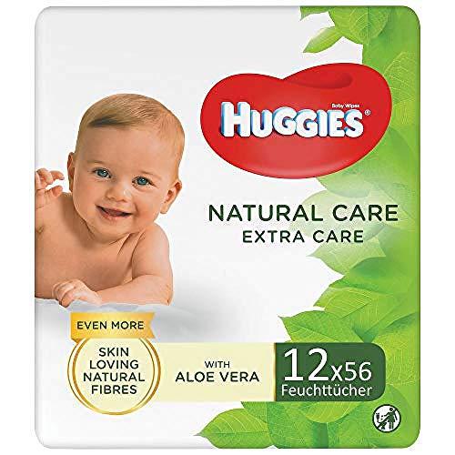 Huggies Natural Care Extra Care - Toallitas para bebé - 3 paquetes (168 toallitas en total)