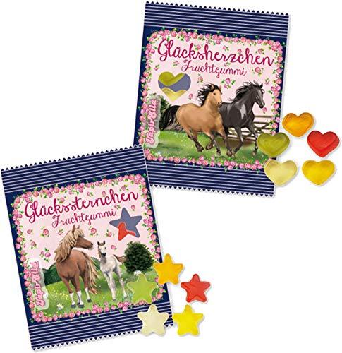 32 x PFERDE - STERNE + HERZEN ┃ Mitgebsel Pony Pferde Ponys Kindergeburtstag ┃ Süßigkeiten mit 4 Geschmäcker ┃ Hersteller aus Deutschland ┃ Kinder lieben dieses Haribo Fruchtgummi