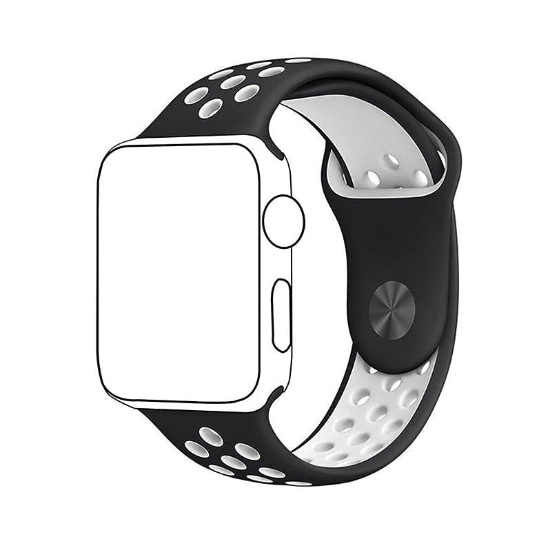 ジョージスティーブンソン代わりにを立てるランプMETEQI バンド 対応 Apple Watch, シリカゲルバンド スポーツシリコンストラップリストバンド交換バンド柔らか運動型 S/M Series 5/4/3/2/1 (38mm/40mm, 黒/白)