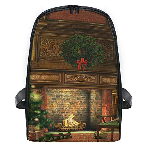 Mini rugzak Daypack Winter vakantie open haard kerstboom rugzak tas lichtgewicht voor meisjes jongens