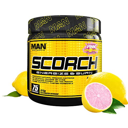 Man Sports Scorch - Fat Burning Powder for Men and Women - Hunger Suppressant - Weight Loss Supplement - 375 Grams, 75 Servings - Pink Lemonade