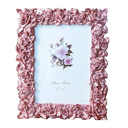 YONGYAN Marco de fotos de 5 x 7 pulgadas con diseño de rosas de estilo pastoral creativo para damas, decoración del hogar para mesa (color rosa)