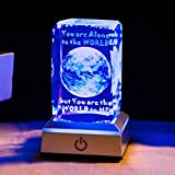 HOCHANCE 3D Moon Crystal Ball with LED Colorful Lighting Touch Base,Language of Flowers: Faithful Love, Everlasting Love,Birthday Present Memorial Anniversary Gifts for Girlfriend Her Wife