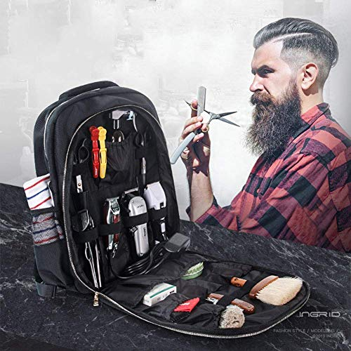 Professional Barber Backpack/Cosmetic Bags,Makeup artist waterproof storage bag can accommodate large tools such as hair dryer, hair straightener, sprayer and so on.