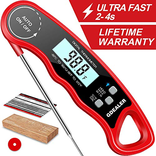 "GDEALER DT09 Waterproof Digital Instant Read Meat Thermometer with 46"" Folding Probe Calibration Function for Cooking Food Candy BBQ Grill Smokers"