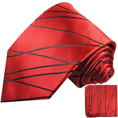 Cravate homme rouge noire rayée ensemble de cravate 2 Pièces ( 100% Soie Cravate + Mouchoir )