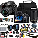 Nikon D3500 DSLR Camera with 18-55mm and 70-300mm Lenses (1588) + 64GB ExtremePro Card + 2 x EN-EL14a Battery + Corel Photo Software + Case + Telephoto Lens + More - International Model (Renewed)