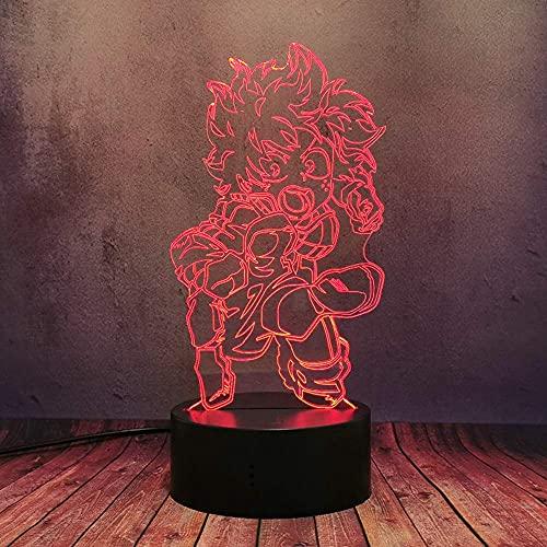 Cool Deku Lámpara para Anime Fans 3D Luz Óptica Noche My Hero Academia Comic Lámpara de Mesa 16 Color Regulable Sensor Táctil Base Lámpara Acrílica con Control Remoto Kid Mejor Regalo de Navidad