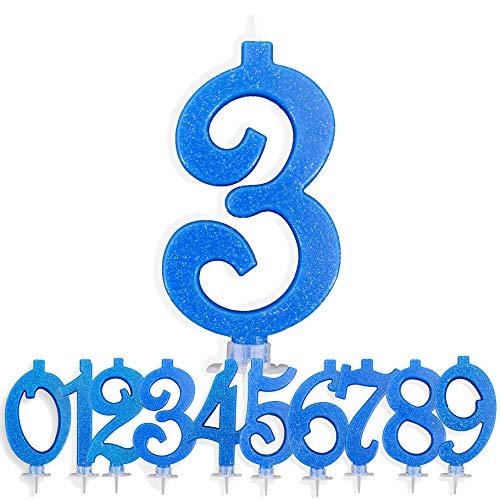 Candeline Compleanno Particolari Numeri Grandi BLU | Decorazione Torta Festa per Happy Birthday Bambino Ragazzo Uomo | Candele Topper Auguri Anniversario | Componi i tuoi Anni (Numero 3)