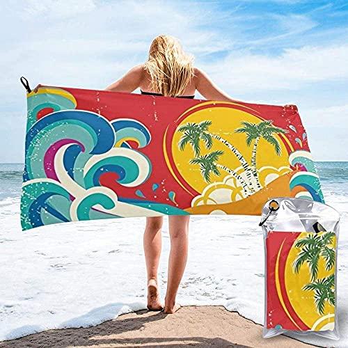 Toalla de Playa Toallas de baño de Moda impresión Linda y Exquisita Toallas Ligeras de Secado rápido Retro Toallas súper absorbentes sin Arena Viajes natación g