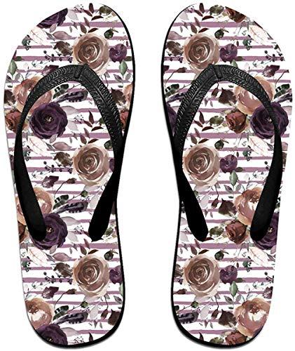 Flip Flop Women's Canada Red Maple Leaf Plaid Unisex Slim Flip-Flops Slippers Beach Flat Thong Sandals-Plum Blossoms-(Large)