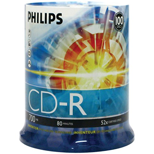Philips D52N650 CD-R, 100 Discs (Pack of 1) - Packaging May Vary
