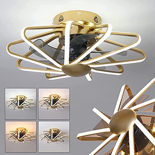 AOUZE Ventilador De Techo Dorado con Luz Y Mando A Distancia Silencioso con 5 Aspas De Ventilador, Moderna Lámpara De Techo LED con Ventilador con Temporizador, Control De 3 Velocidades