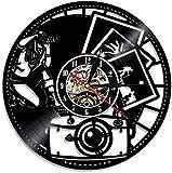 Fotografía Vinilo Record Reloj de Pared Decoración del Hogar Obturador Lente Película Cámara Digital Retro Fotos Tiro Arte Fotógrafo Reloj de Pared
