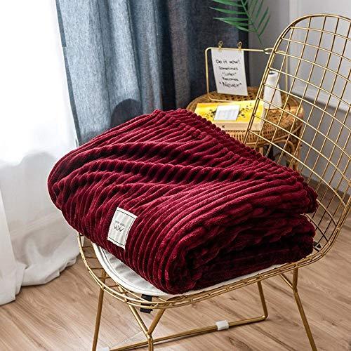 Asbecky Manta Bebe Manta de Lana de una Sola Capa Manta de Franela Suave Gran sofá de Cama cálido y Esponjoso-Rojo_El 180x200cm