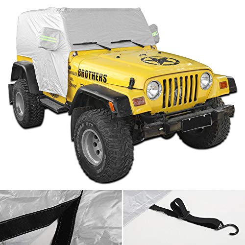 JeCar Waterproof Car Cover, Indoor Outdoor All Weather Tail Cover UV Protection for 1997-2006 Jeep Wrangler TJ LJ, Exterior Accessories