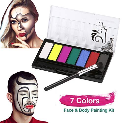 Aibecy-Kit profesional de pintura facial y corporal 7 colores Pinturas a base de agua lavables con pincel Paleta de pintura facial segura y no tóxica Hipoalergénica para maquillaje de Halloween