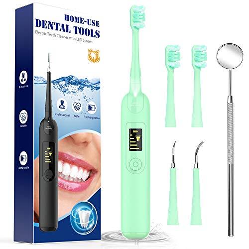 Spazzolino denti Spazzolini Denti Pulizia Denti Dental Breett kit Pulizia Dentale Sbiancante denti 5 Modalità 4 Ricambio Testine Verde