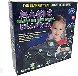 Magic Glow in The Dark Blanket Throw with Star Sky Objects Super Soft Snuggly Fluffy 50