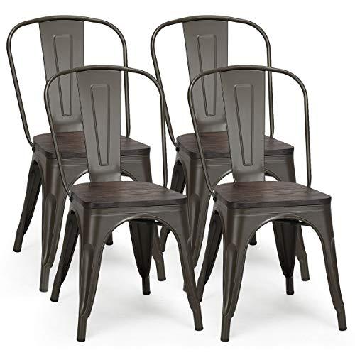 COSTWAY Vintage metalen stoel set van 4, keuken eetkamerstoel, houten blad keukenstoelen, stapelbare metalen stoel met…