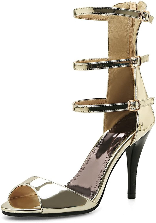 AIWEIYi Womens Summer Style Stiletto High Heel Ankle Strap Strappy Sandals Grey