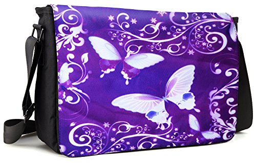 Meffort Inc 15 15.6 Inch Laptop Padded Compartment Shoulder Messenger Bag with Shoulder Pad - Purple Butterflies