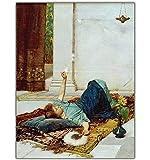William Waterhouse 《Dolce far Niente》 lienzo impreso pinturas de arte de pared para la decoración del hogar de la sala de estar -60x80cm sin marco
