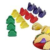 Sipliv set de 12 (4 colores) tacos de plástico taco stand burrito stand de tacos duros o blandos