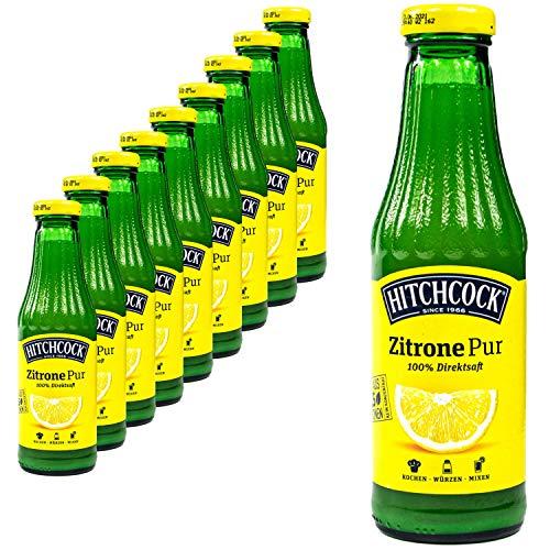 Hitchcock - 10er Pack Premium Zitronensaft Zitrone Pur 100% Direktsaft - Saft aus ca. 15 Zitronen in 0,5 Liter Glasflasche