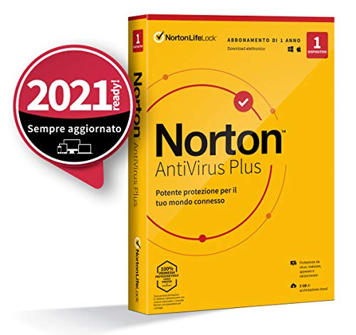 Norton Antivirus Plus 2021,Antivirus per 1 Dispositivo, Licenza di 1 anno, PC o Mac