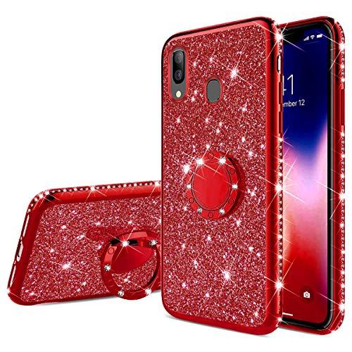 Jinghuash Funda para Samsung Galaxy A40,Estuche Glitter Sparkles Diamante Silicona Suave,Cubierta Gel TPU con Anillo,Bling,Funda Libro Protector Ultra Delgado,Estuche per Samsung Galaxy A40,Rojo
